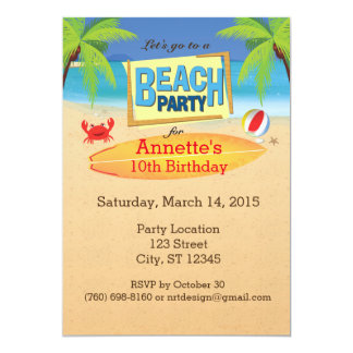 Let's Go To A Beach Party Invitation