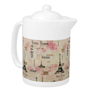 """""""Let's Go To Paris!"""" Porcelain Teapot"""