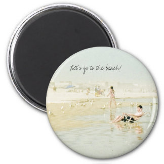 Let's go to the beach! 2 inch round magnet
