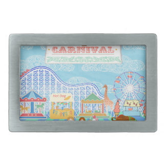 Lets Go to the Carnival, Roller Coaster, Ferris Wh Rectangular Belt Buckle