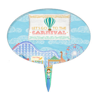 Lets Go to the Carnival, Roller Coaster, Ferris Wh Cake Topper