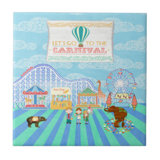 Lets Go to the Carnival, Roller Coaster, Ferris Wh Tile