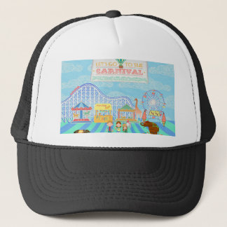 Lets Go to the Carnival, Roller Coaster, Ferris Wh Trucker Hat