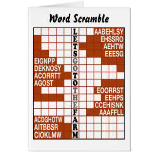 Let's Go to the Farm Word Scramble Card