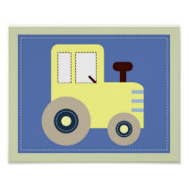 Let's Go Tractor Boys Nursery Wall Art Print