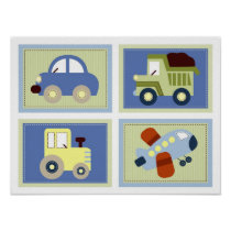 Let's Go Transportation Nursery Wall Art Prints