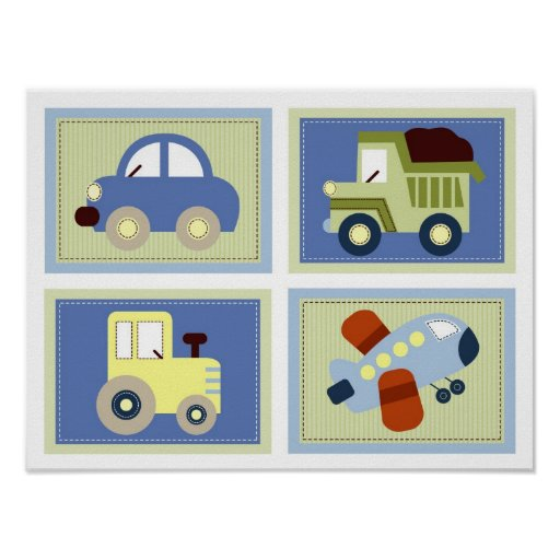 Nursery Wall Decor Transportation : Let s go transportation nursery wall art prints zazzle