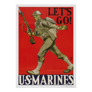 Let's Go!  U.S. Marines. Poster