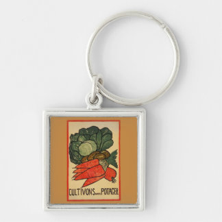 Let's Grow a Vegetable Garden Silver-Colored Square Keychain