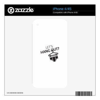 Let's Hang Out Hanger Undies Funny Underwear Pun iPhone 4S Skin