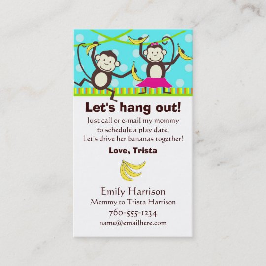 Let S Hang Out Monkey Play Date Cards Zazzle Com