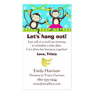 Let's Hang Out, Monkey Play Date Cards Double-Sided Standard Business Cards (Pack Of 100)