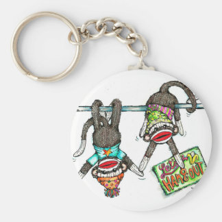 Let's Hang Out - Sock Monkeys Basic Round Button Keychain