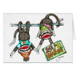 Let's Hang Out - Sock Monkeys Greeting Card