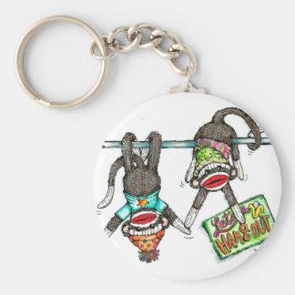 Let's Hang Out - Sock Monkeys Key Chain