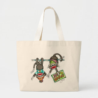 Let's Hang Out - Sock Monkeys Large Tote Bag