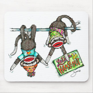 Let's Hang Out - Sock Monkeys Mouse Pad
