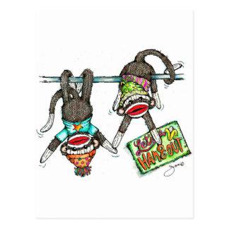 Let's Hang Out - Sock Monkeys Postcards