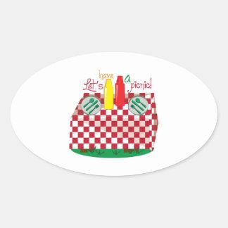 Lets Have a Picnic Oval Sticker