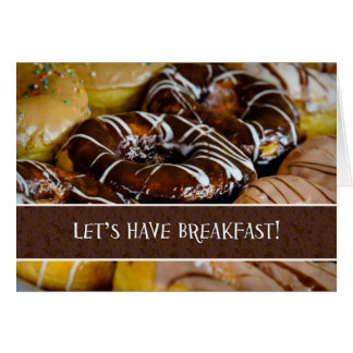Let's Have Breakfast Donut Pastry Close Up Greetin Card