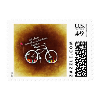 Lets Have Cycling Adventures Together Stamp
