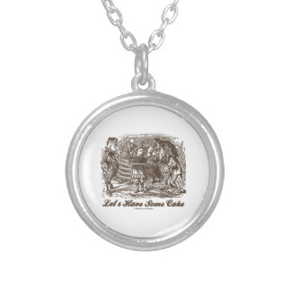 Let's Have Some Cake (Alice Unicorn Lion) Silver Plated Necklace