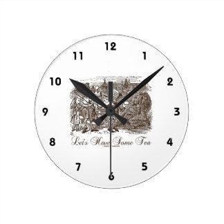 Let's Have Some Tea Wonderland Alice Haigha Hatta Round Clock