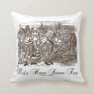 Let's Have Some Tea Wonderland Alice Haigha Hatta Throw Pillow