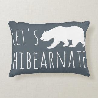 Let's Hibearnate White Bear Silhouette Gray Accent Pillow
