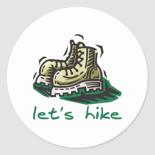 Let's Hike Green Classic Round Sticker