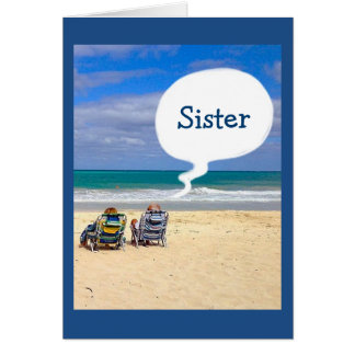 "LET'S HIT THE BEACH FOR YOUR BIRTHDAY ""SISTER"" CARD"