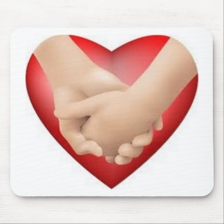Let's hold hands heart mouse pad