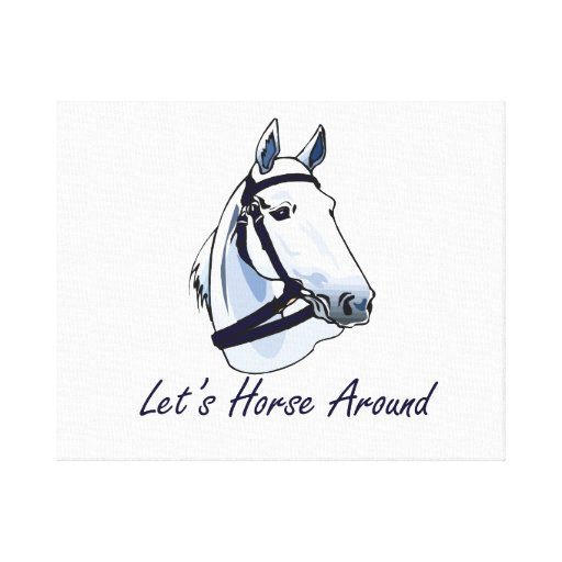 Lets Horse Around Arabian Blue Halter Stretched Canvas Print