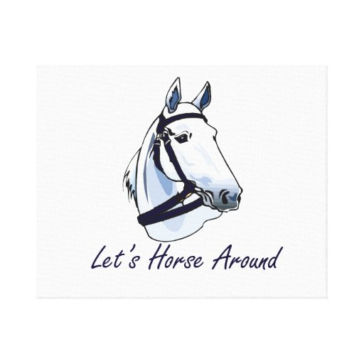 Lets Horse Around Arabian Blue Halter Gallery Wrapped Canvas