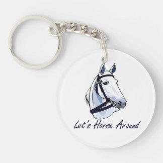 Lets Horse Around Arabian Blue Halter Keychain