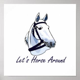 Lets Horse Around Arabian Blue Halter Poster