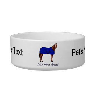 Lets Horse Around Brown w Blue Blanket Bowl