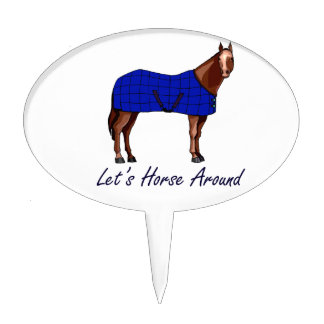 Lets Horse Around Brown w Blue Blanket Cake Topper