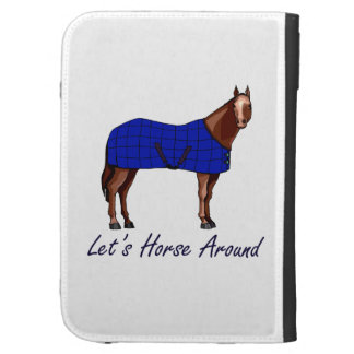 Lets Horse Around Brown w Blue Blanket Case For Kindle
