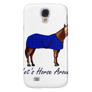 Lets Horse Around Brown w Blue Blanket Samsung Galaxy S4 Case
