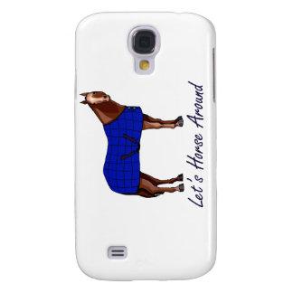 Lets Horse Around Brown w Blue Blanket Galaxy S4 Case