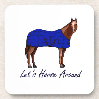 Lets Horse Around Brown w Blue Blanket Coasters