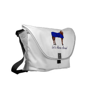 Lets Horse Around Brown w Blue Blanket Courier Bag