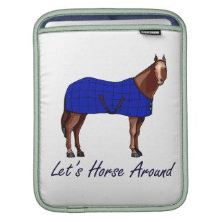 Lets Horse Around Brown w Blue Blanket iPad Sleeves