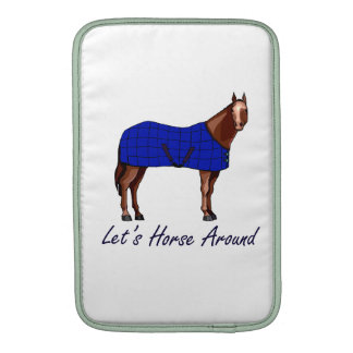 Lets Horse Around Brown w Blue Blanket Sleeve For MacBook Air
