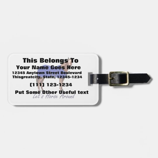 Lets Horse Around Brown w Blue Blanket Luggage Tag