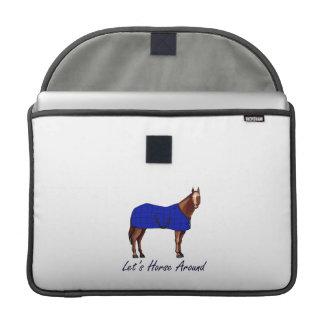 Lets Horse Around Brown w Blue Blanket MacBook Pro Sleeve