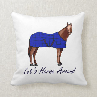 Lets Horse Around Brown w Blue Blanket Pillows