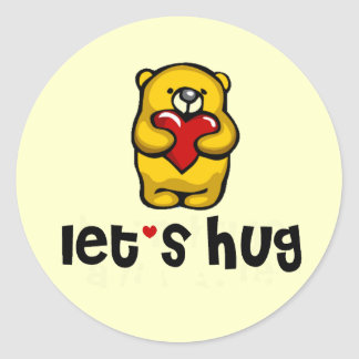 Let's Hug Classic Round Sticker