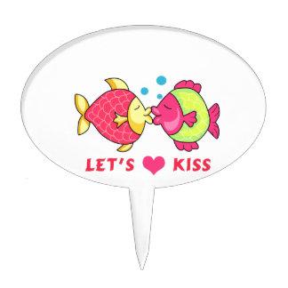 LETS KISS CAKE TOPPER